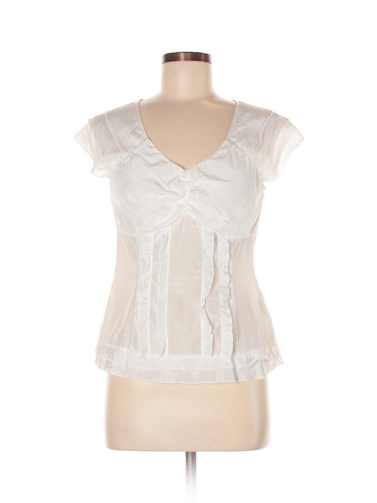 Willi Smith Women Short Sleeve Silk Top Size M