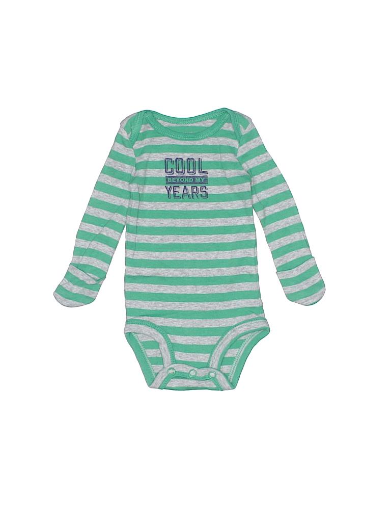 486c2a0c3 Carter's 100% Cotton Stripes Green Long Sleeve Onesie Newborn - 95 ...