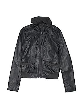 Xhilaration Women Faux Leather Jacket Size S (Petite)