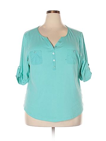 Karen Scott Short Sleeve Henley Size 2X (Plus)