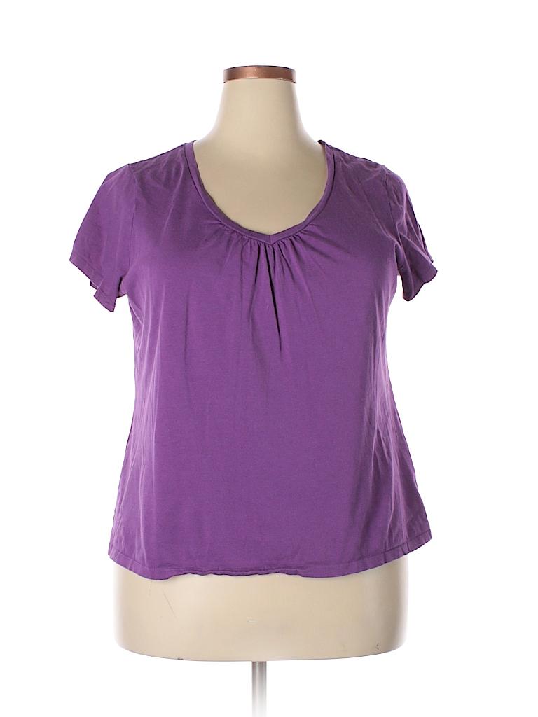 St John 39 S Bay Solid Purple Short Sleeve T Shirt Size 1x