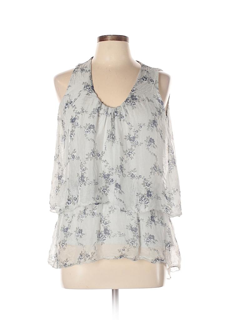 Elena Baldi 100 Silk Floral Gray Sleeveless Silk Top Size