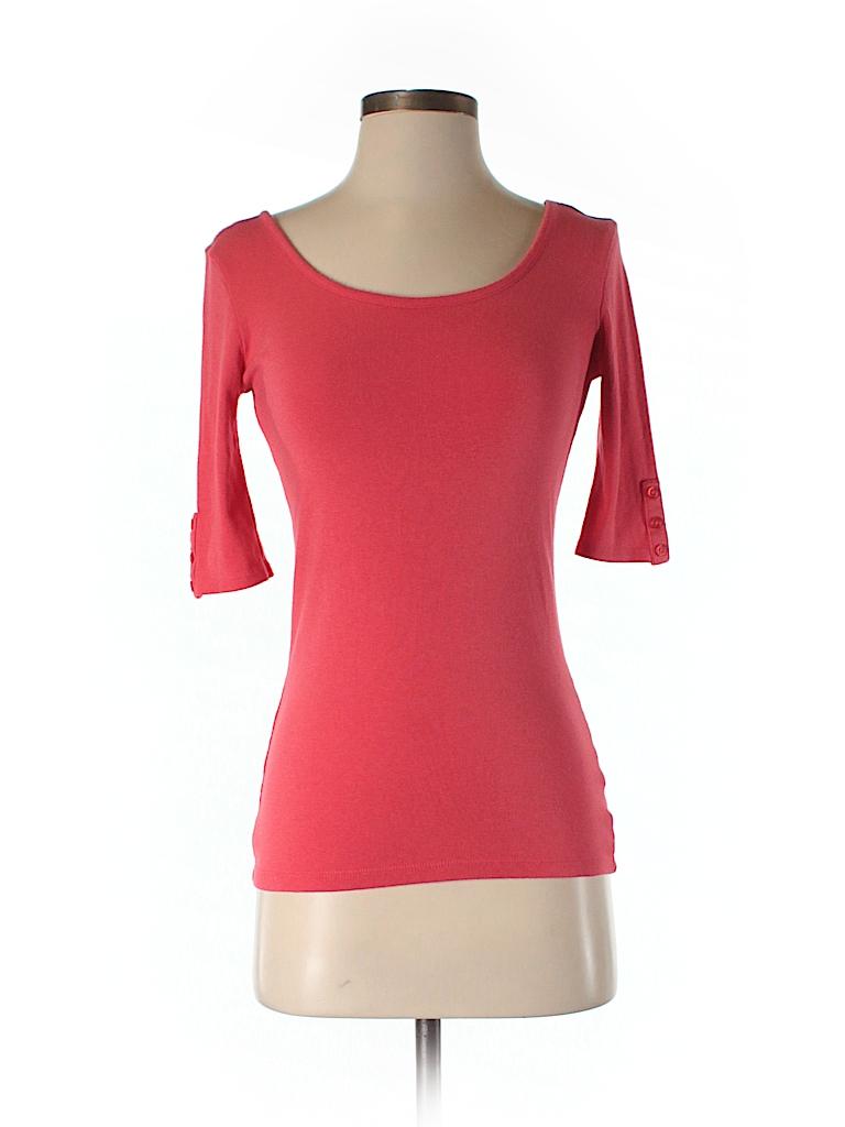Cynthia rowley for t j maxx solid pink 3 4 sleeve t shirt for Tj maxx t shirts