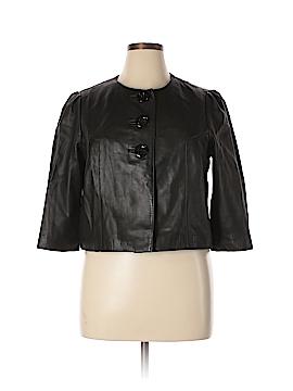 INC International Concepts Leather Jacket Size L (Petite)