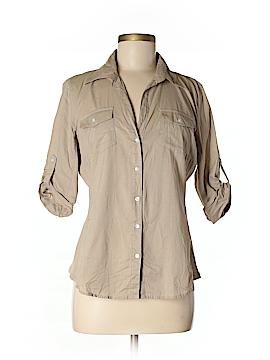 Sandra Ingrish 3/4 Sleeve Button-Down Shirt Size L (Petite)