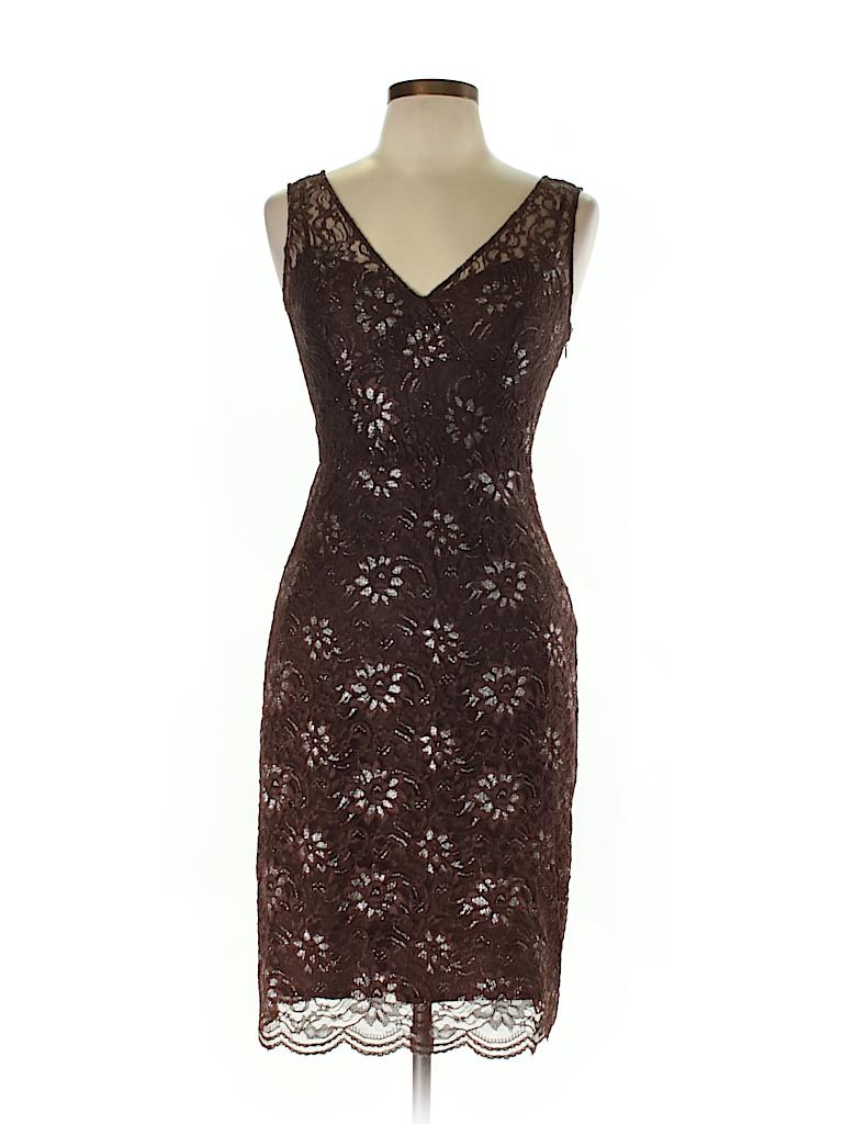 BCBGMAXAZRIA Floral Lace Brown Cocktail Dress Size 8 - 80% off | thredUP