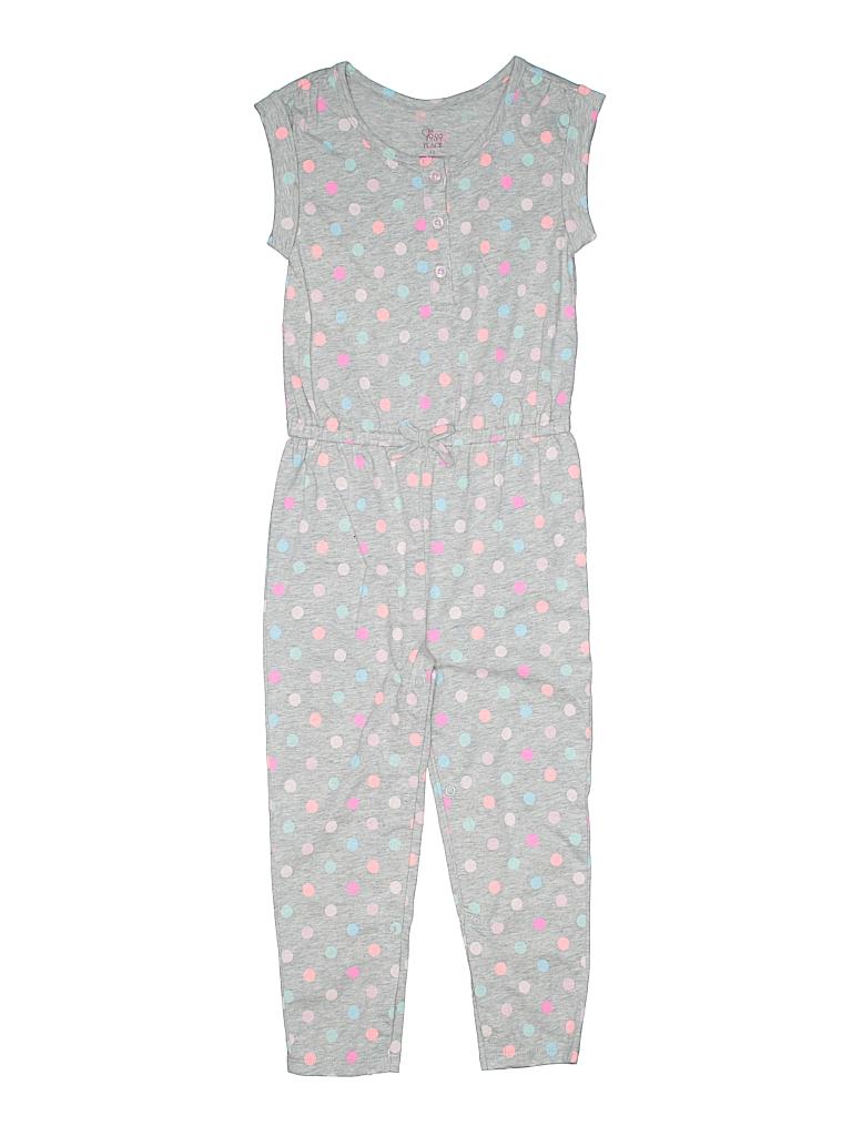 76a0905638cf The Children s Place 100% Cotton Print Gray Jumpsuit Size 4T - 61 ...