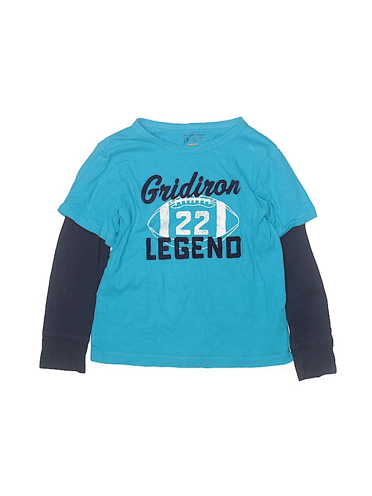 4e1ab34a5 The Children's Place 100% Cotton Color Block Blue Long Sleeve T ...