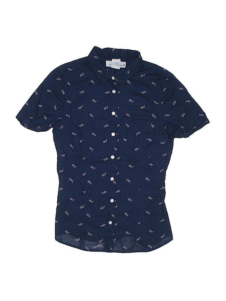 23f5b5885fa H M 100% Cotton Print Navy Blue Short Sleeve Button-Down Shirt Size ...