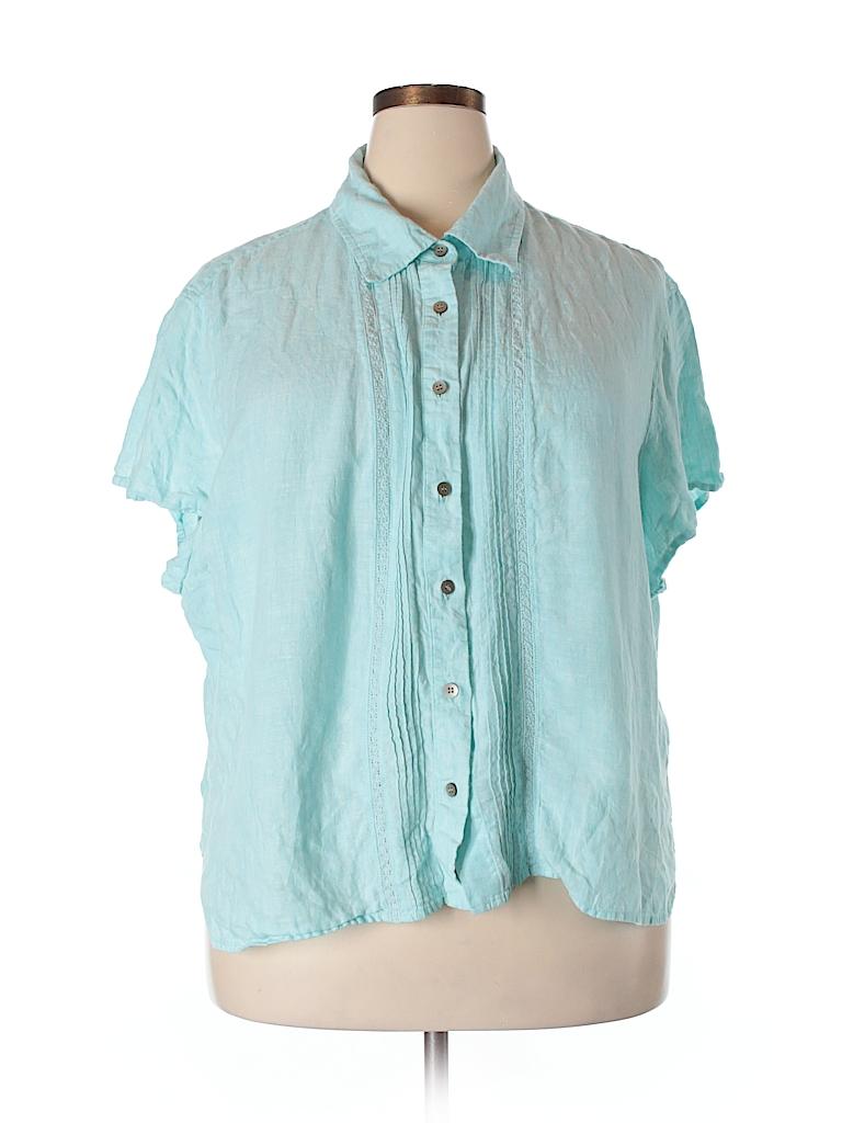 100 Linen Solid Blue Short Sleeve Button Down