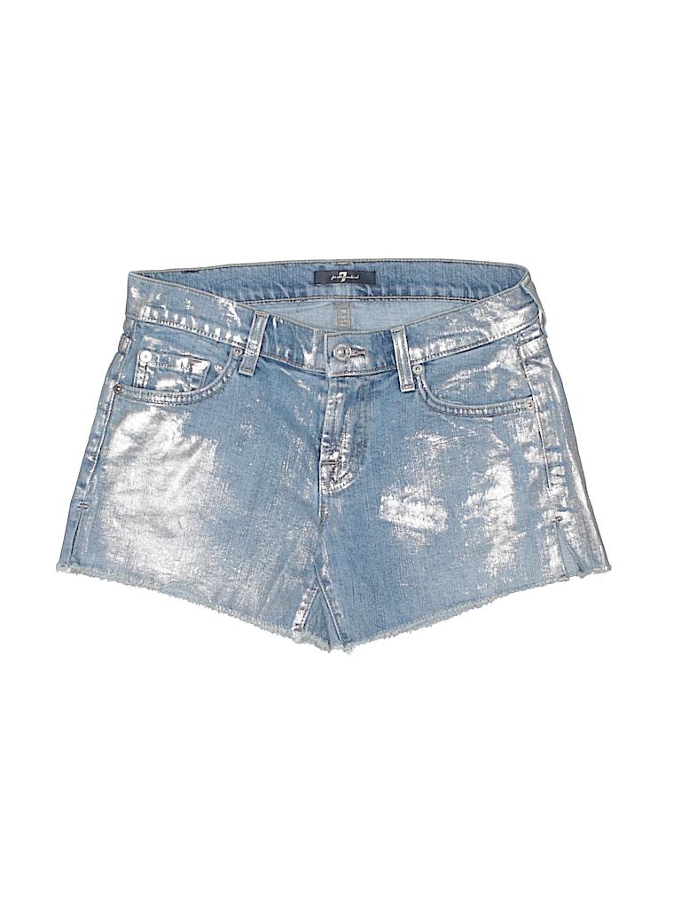 d869db10f6 7 For All Mankind Solid Light Blue Denim Shorts 24 Waist - 94% off ...