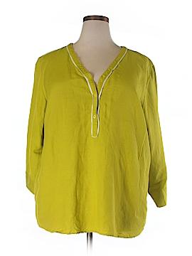 Ashley Stewart 3/4 Sleeve Button-Down Shirt Size 24W (Plus)