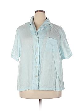 Flax Short Sleeve Button-Down Shirt Size 18 (1G) (Plus)