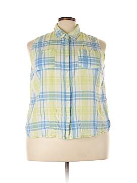 Derek Heart Sleeveless Button-Down Shirt Size 3X (Plus)