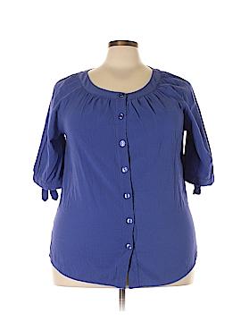 White Stag 3/4 Sleeve Button-Down Shirt Size 2X (Plus)