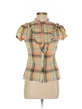 Split Short Sleeve Button-Down Shirt Size M