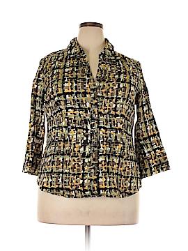 Como 3/4 Sleeve Button-Down Shirt Size 1X (Plus)