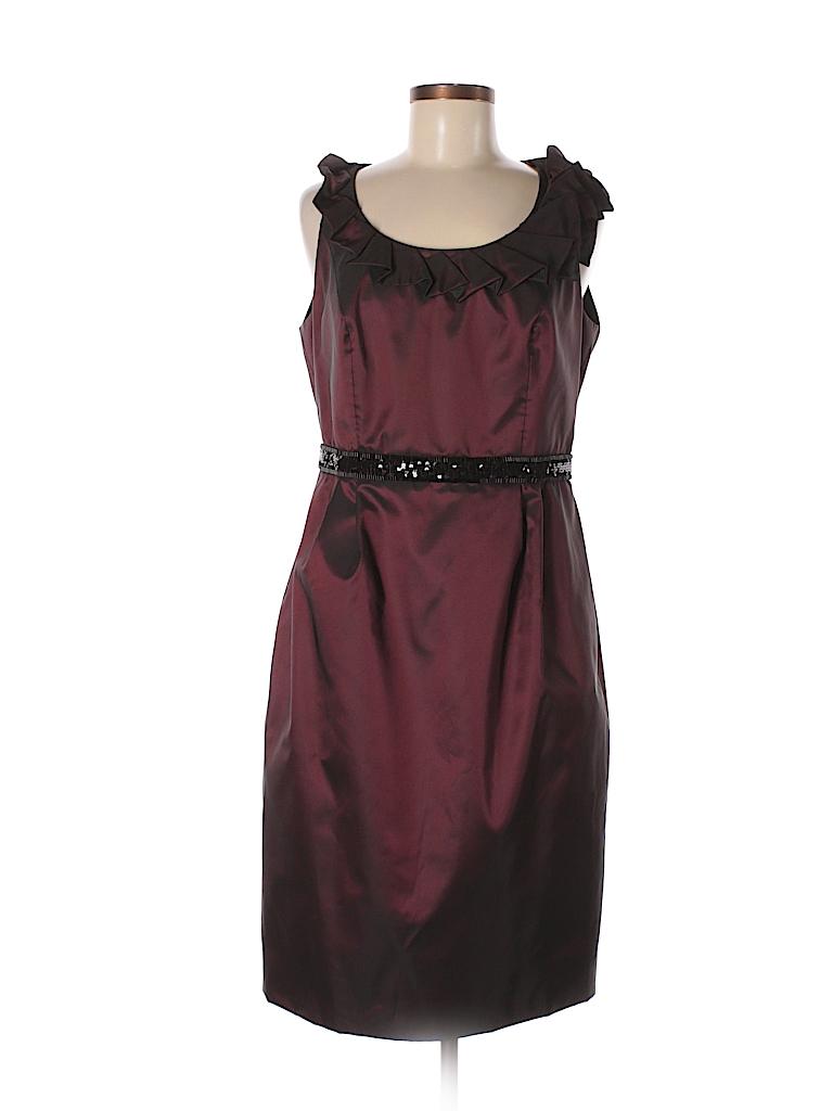 e08f3b5d0e Carmen Marc Valvo 100% Polyester Solid Burgundy Cocktail Dress Size ...
