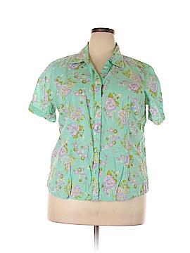 Cappagallo Short Sleeve Button-Down Shirt Size 1X (Plus)