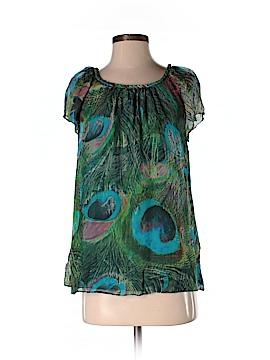 Blue Velvet Short Sleeve Silk Top Size S