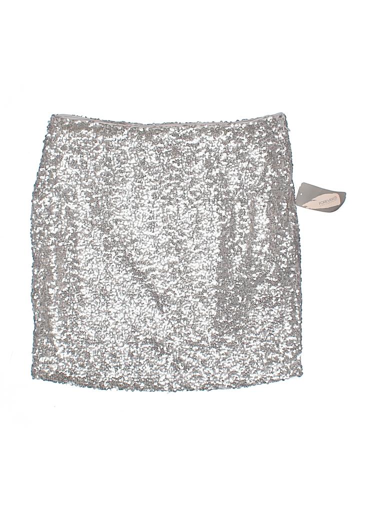98b56d45da Forever 21 100% Polyester Metallic Silver Formal Skirt Size S - 47 ...