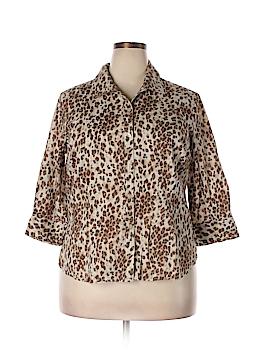 Caribbean Joe 3/4 Sleeve Button-Down Shirt Size 1X (Plus)