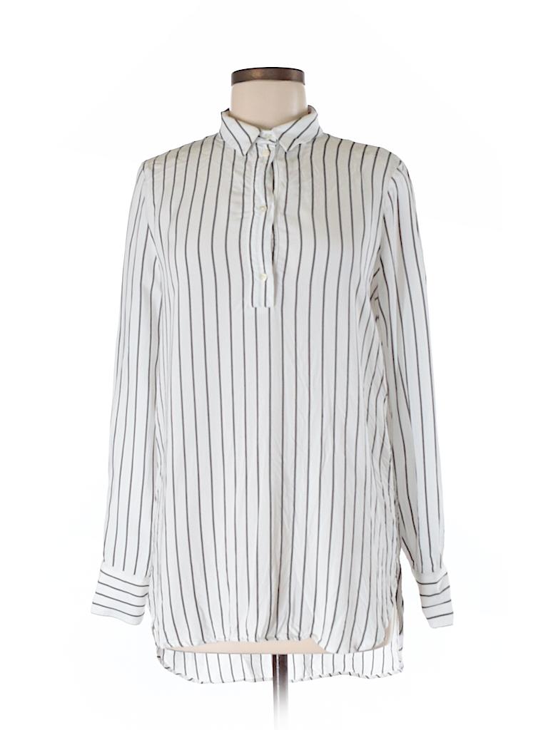 6af3200a Zara 100% Viscose Stripes White Long Sleeve Button-Down Shirt Size M ...