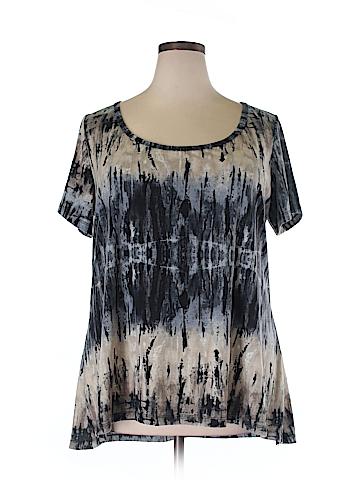 Aqua Blues Short Sleeve Top Size 4X (Plus)