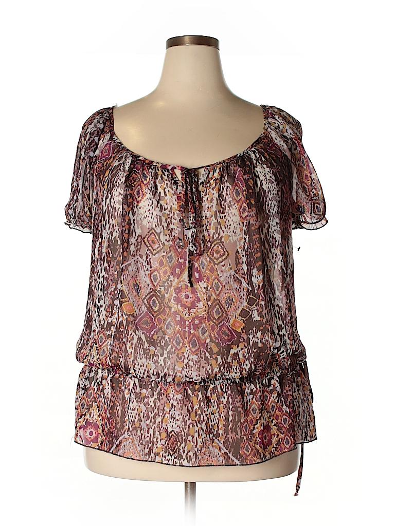 Pure Energy Women Short Sleeve Blouse Size 2