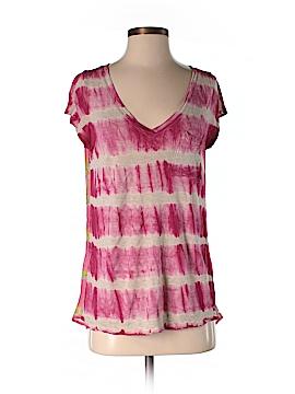 Language Short Sleeve Silk Top Size S
