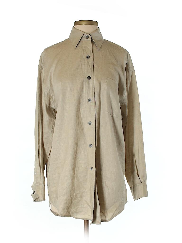 8d3c80e1ebf DKNY 100% Linen Solid Tan Long Sleeve Button-Down Shirt Size P - 98 ...
