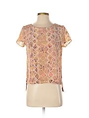 Fynn & Rose Women Short Sleeve Silk Top Size S (Petite)