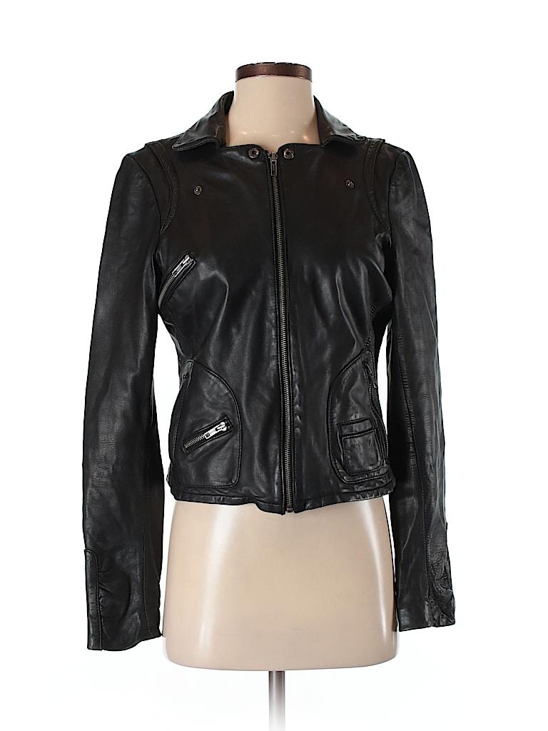Black Rivet 100 Leather Solid Black Leather Jacket Size S 75 Off