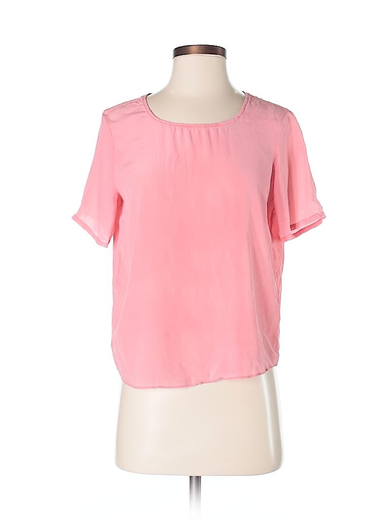 44eb9474d9216 Zoe   Sam 100% Silk Solid Light Pink Short Sleeve Silk Top Size XS ...