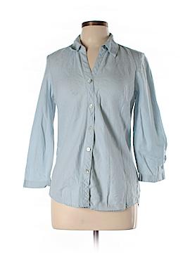 So Blue Sigrid Olsen 3/4 Sleeve Button-Down Shirt Size M