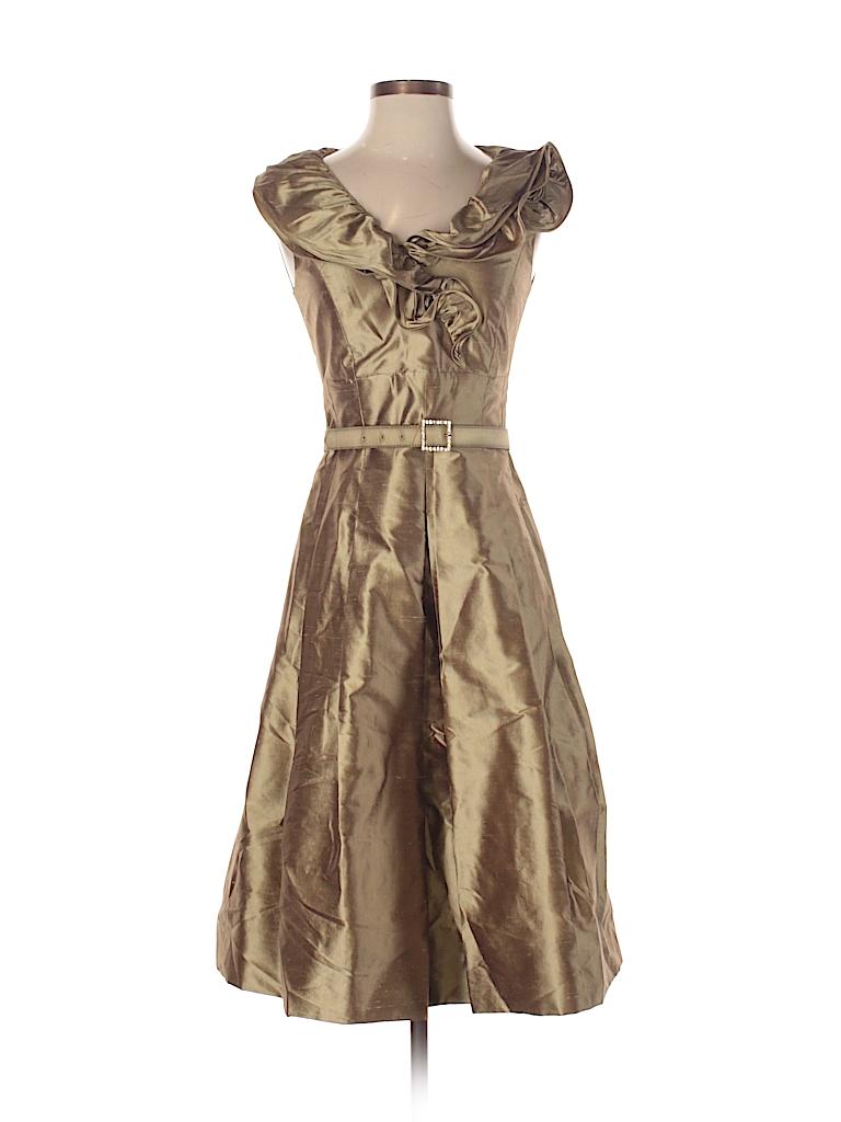 Teri Jon By Rickie Freeman Metallic Gold Cocktail Dress Size 4 82