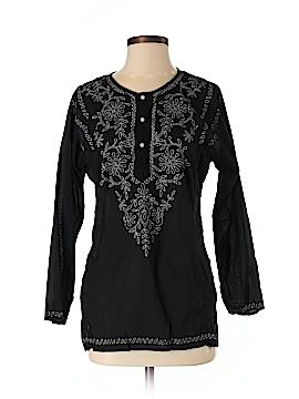 Sun Streak by Newport News Long Sleeve Button-Down Shirt Size S