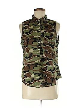Aqua Sleeveless Button-Down Shirt Size S