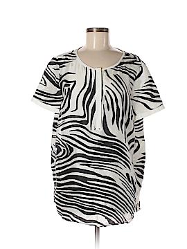 Lafayette 148 New York Short Sleeve Silk Top Size 12