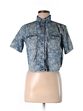 Moto Short Sleeve Button-Down Shirt Size 4