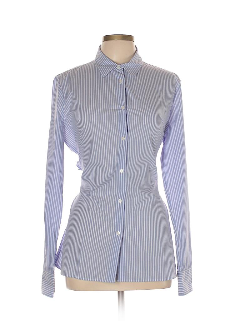 Ann Taylor Women Long Sleeve Button-Down Shirt Size L (Tall)