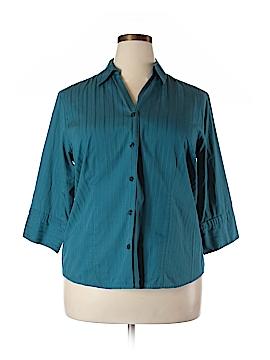 Mountain Lake 3/4 Sleeve Button-Down Shirt Size 1X (Plus)