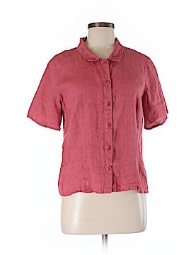 Flax Short Sleeve Button-Down Shirt Size 6 (S)