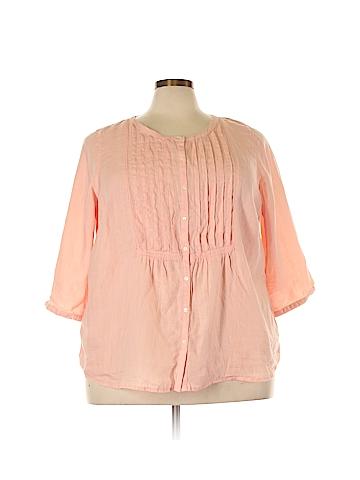 Lands' End 3/4 Sleeve Button-Down Shirt Size 20 - 22 Plus (Plus)