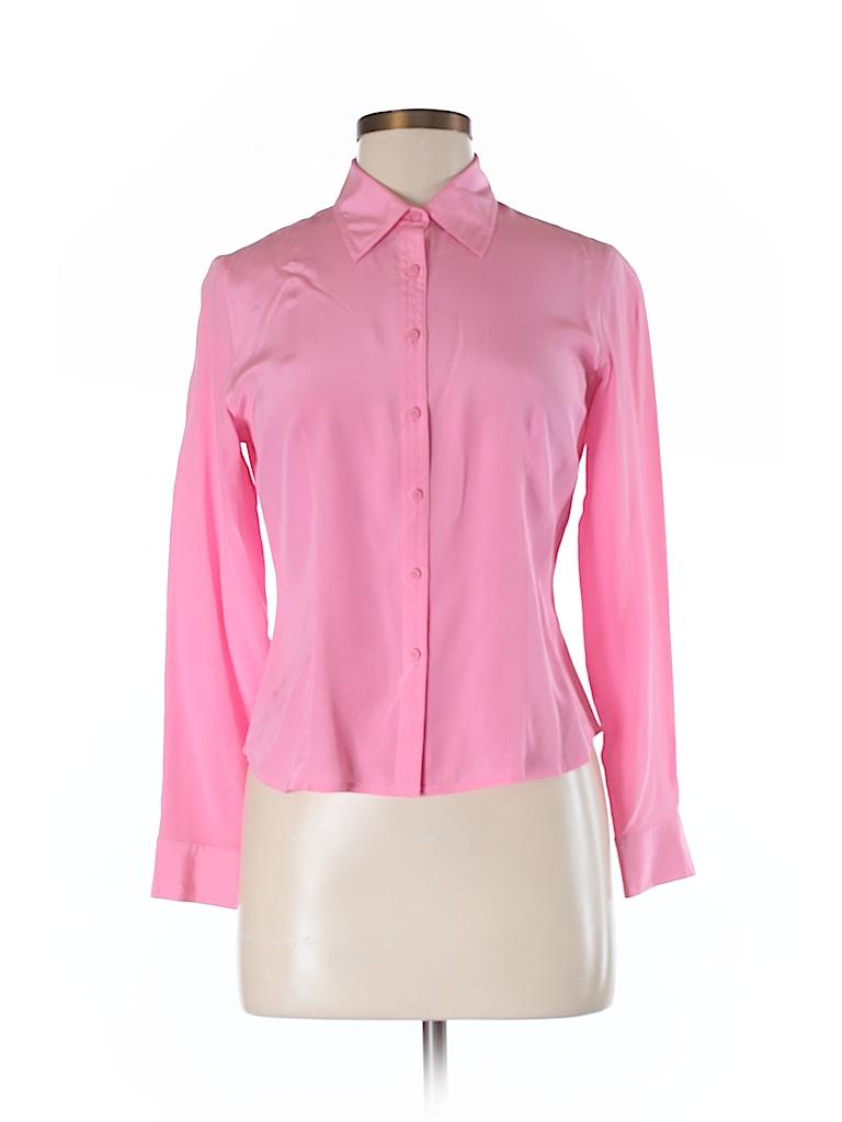 bda157666b449 Ann Taylor LOFT 100% Silk Pink Long Sleeve Silk Top Size 6 (Petite ...