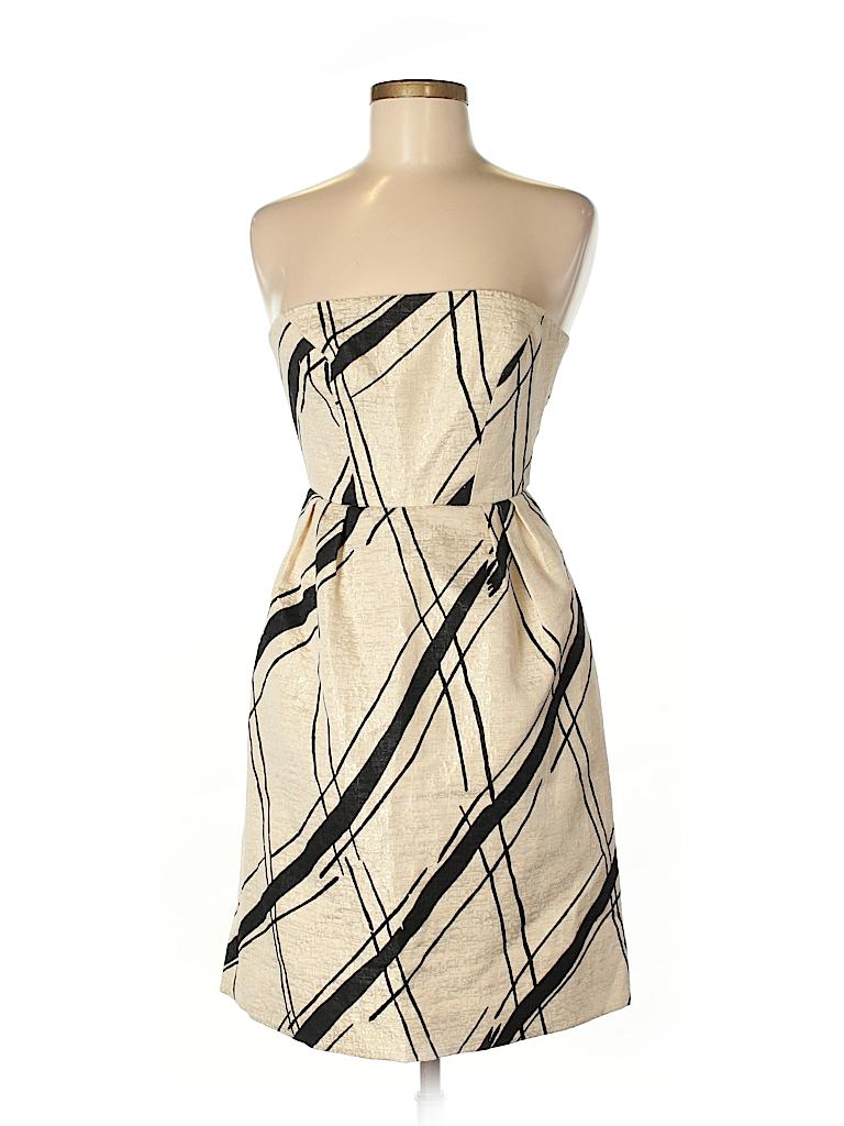 Girls from Savoy Stripes Beige Cocktail Dress Size 2 - 82% off   thredUP
