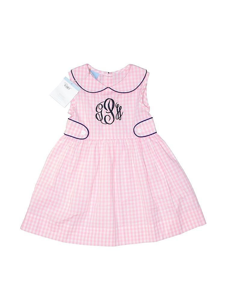 Bella Bliss 100 Cotton Checkered Gingham Light Pink Dress Size 2