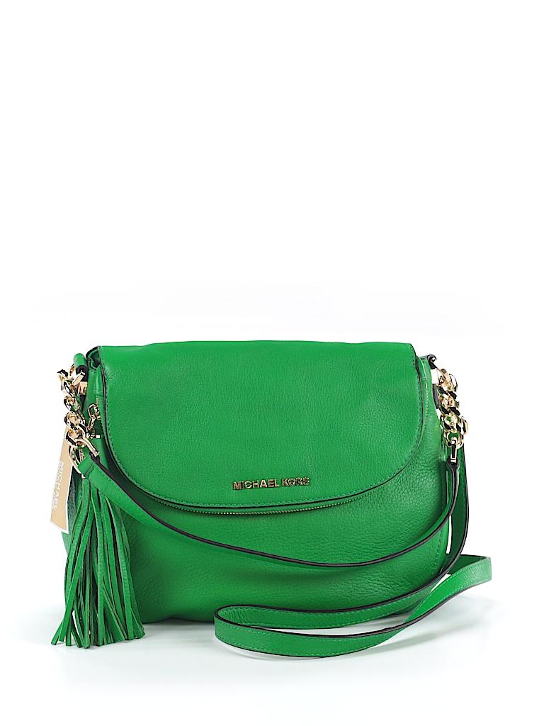 894e166cc10c MICHAEL Michael Kors 100% Leather Solid Green Leather Crossbody Bag ...