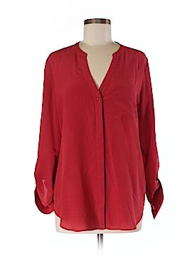 Trouve Long Sleeve Silk Top Size M