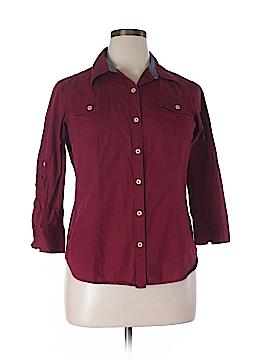 Van Heusen 3/4 Sleeve Button-Down Shirt Size L